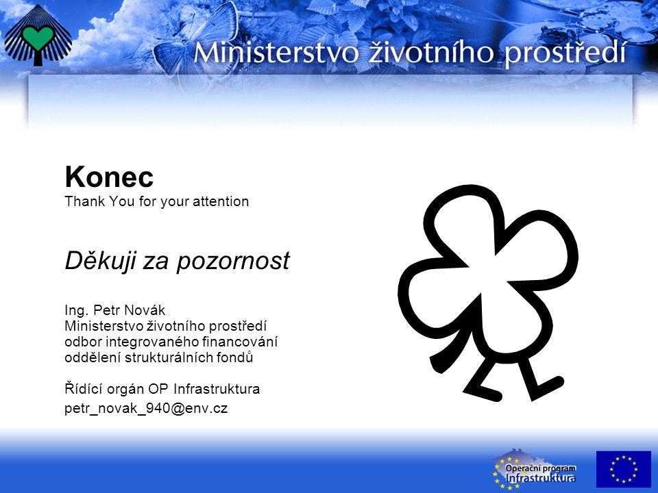 Konec Thank You for your attention Děkuji za pozornost Ing. Petr Novák Ministerstvo životního prostředí odbor integrovaného financování oddělení struk