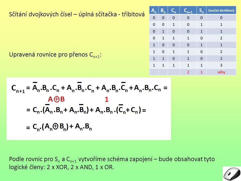 Sčítání dvojkových čísel – úplná sčítačka - tříbitová Upravená rovnice pro přenos C n+1 : Podle rovnic pro Sn Sn a C n+1 vytvoříme schéma zapojení – bude obsahovat tyto logické členy: 2 x XOR, 2 x AND, 1 x OR.