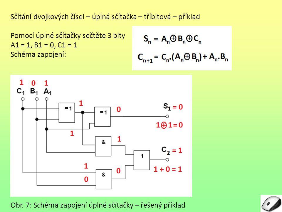 Sčítání dvojkových čísel – úplná sčítačka – tříbitová – příklad Pomocí úplné sčítačky sečtěte 3 bity A1 = 1, B1 = 0, C1 = 1 Schéma zapojení: Obr. 7: S