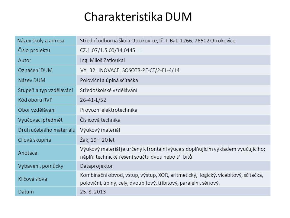 Charakteristika DUM 2 Název školy a adresaStřední odborná škola Otrokovice, tř. T. Bati 1266, 76502 Otrokovice Číslo projektuCZ.1.07/1.5.00/34.0445 /6