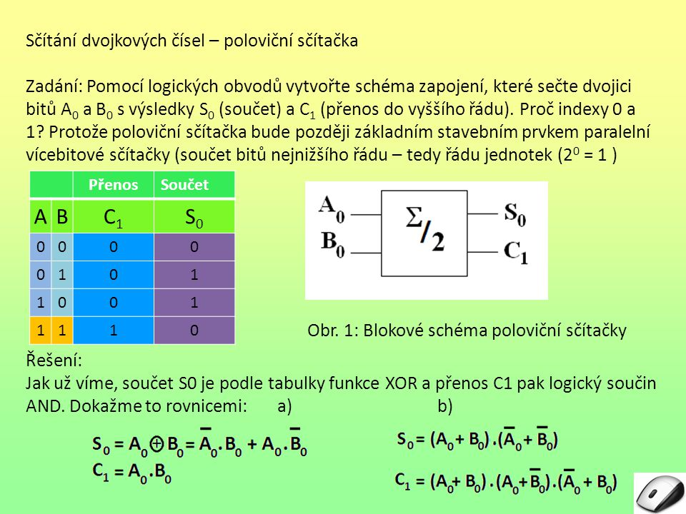 Sčítání dvojkových čísel – poloviční sčítačka Srovnáme- li obě dvojice rovnic, vidíme, že: - rovnice a) jsou kratší a tedy schéma zapojení budeme kreslit podle nich - rovnice podle bodu b) jsou také platné a použitelné, ale schéma zapojení pak vychází složitější Schéma podle rovnic a) může být - jednoduché – využívá logických členů XOR a AND - složitější – namísto členu XOR používá 2x člen NOT, 2x AND, 1x OR Obr.
