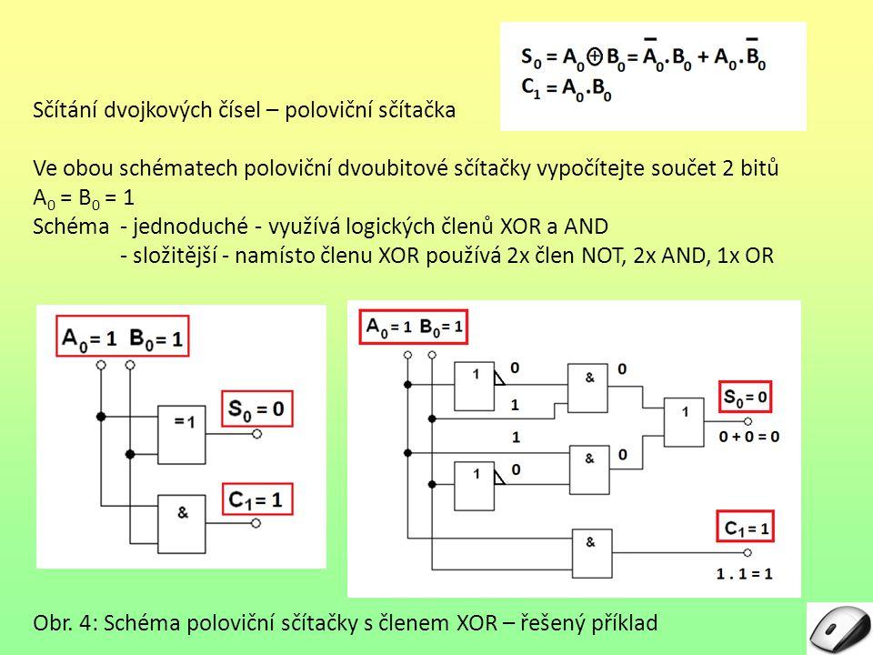 Sčítání dvojkových čísel – úplná sčítačka – tříbitová Poloviční dvojková sčítačka – dvoubitová – umí sečíst pouze dvě dvojkové číslice na nejnižším řádu n- bitového dvojkového čísla.