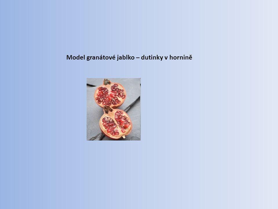 Model granátové jablko – dutinky v hornině