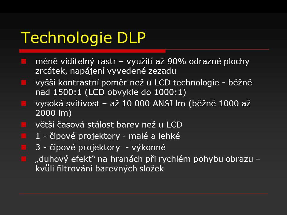 Technologie DLP méně viditelný rastr – využití až 90% odrazné plochy zrcátek, napájení vyvedené zezadu vyšší kontrastní poměr než u LCD technologie -
