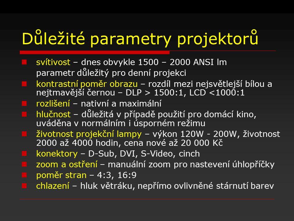 Důležité parametry projektorů svítivost – dnes obvykle 1500 – 2000 ANSI lm parametr důležitý pro denní projekci kontrastní poměr obrazu – rozdíl mezi