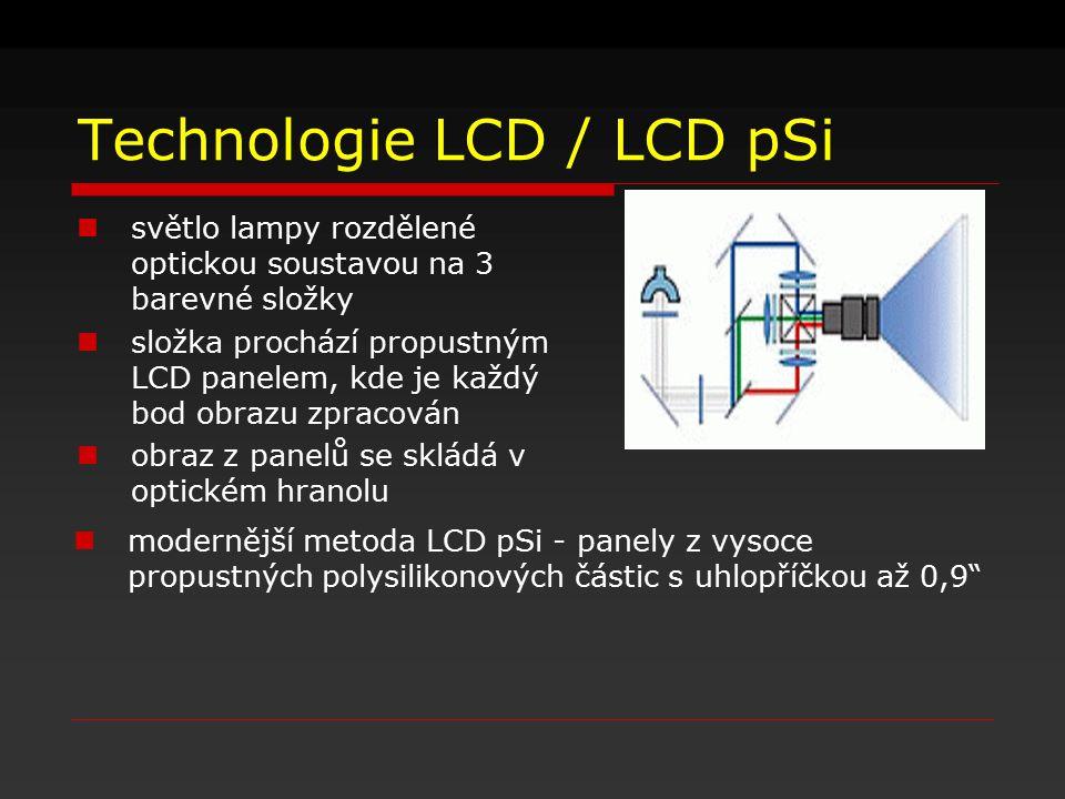 Technologie LCD / LCD pSi světlo lampy rozdělené optickou soustavou na 3 barevné složky složka prochází propustným LCD panelem, kde je každý bod obraz