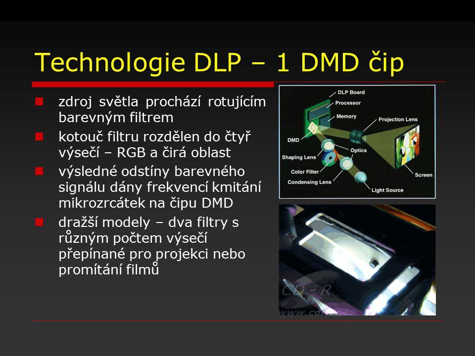 Technologie DLP – 1 DMD čip zdroj světla prochází rotujícím barevným filtrem kotouč filtru rozdělen do čtyř výsečí – RGB a čirá oblast výsledné odstín
