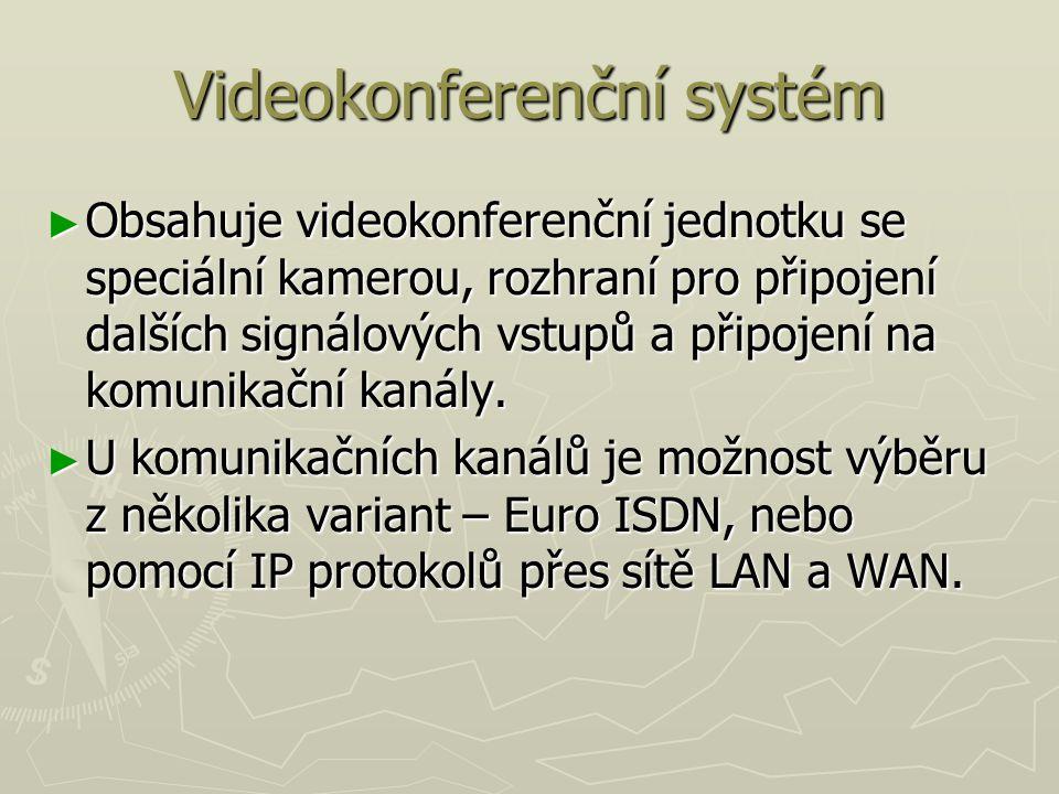Videokonferenční systém ► Obsahuje videokonferenční jednotku se speciální kamerou, rozhraní pro připojení dalších signálových vstupů a připojení na komunikační kanály.