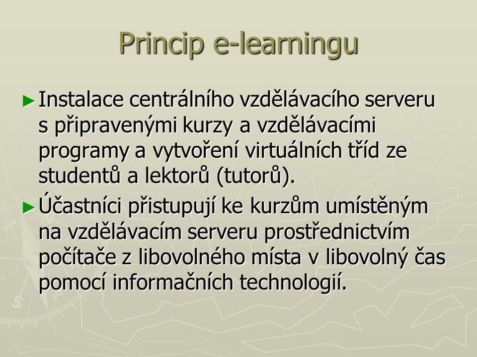 Princip e-learningu ► Instalace centrálního vzdělávacího serveru s připravenými kurzy a vzdělávacími programy a vytvoření virtuálních tříd ze studentů a lektorů (tutorů).