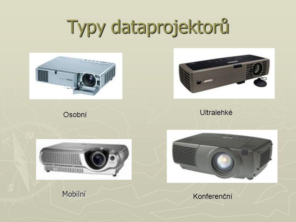 Typy dataprojektorů Ultralehké Konferenční Osobní Mobilní
