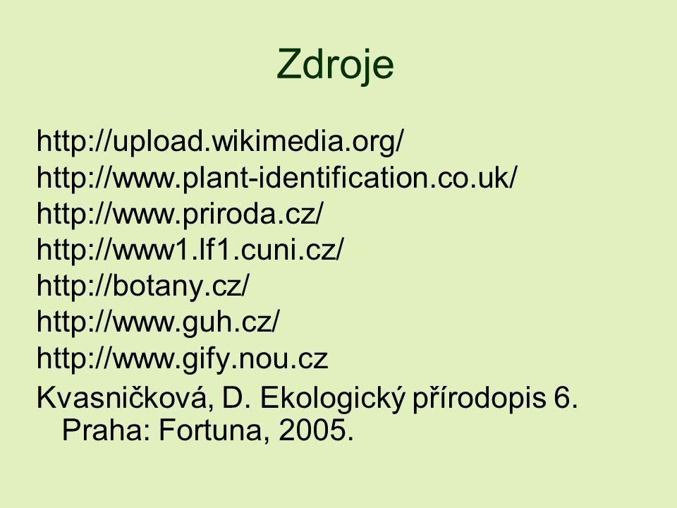 Zdroje http://upload.wikimedia.org/ http://www.plant-identification.co.uk/ http://www.priroda.cz/ http://www1.lf1.cuni.cz/ http://botany.cz/ http://ww