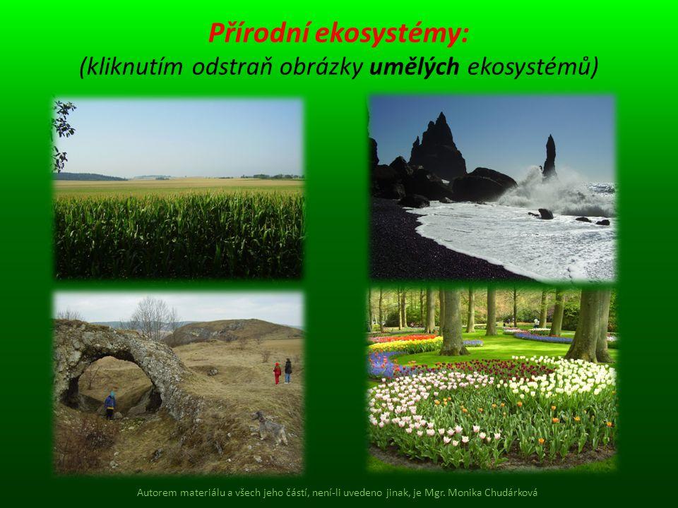 Přírodní ekosystémy: (kliknutím odstraň obrázky umělých ekosystémů) Autorem materiálu a všech jeho částí, není-li uvedeno jinak, je Mgr. Monika Chudár