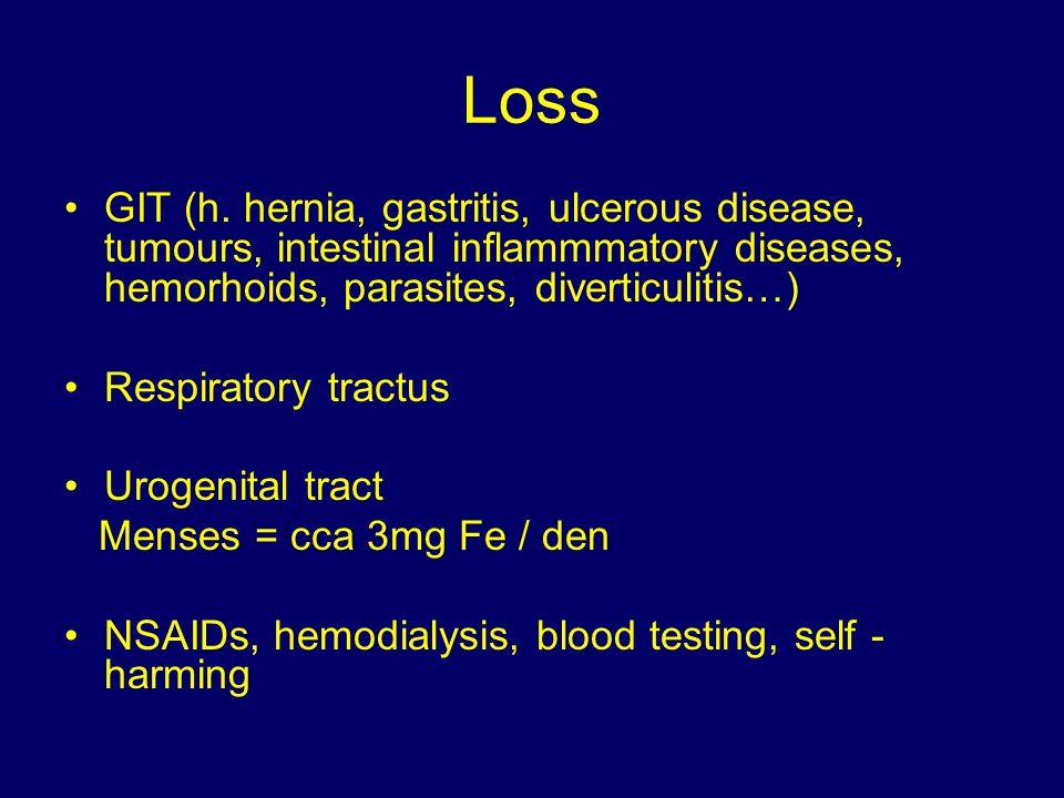Loss GIT (h. hernia, gastritis, ulcerous disease, tumours, intestinal inflammmatory diseases, hemorhoids, parasites, diverticulitis…) Respiratory trac