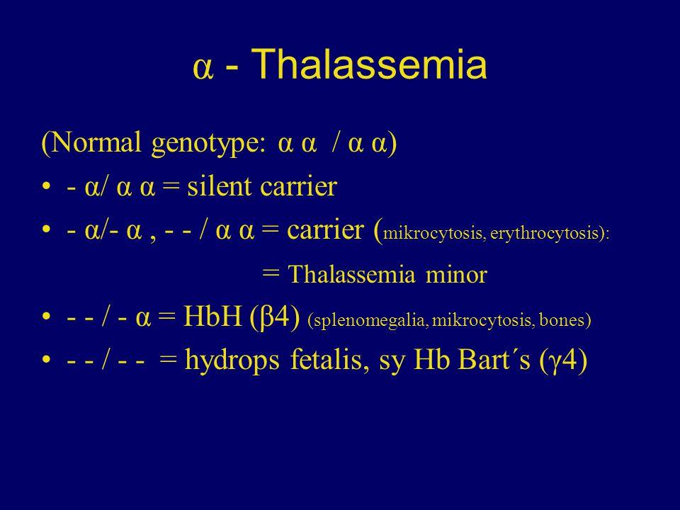 α - Thalassemia (Normal genotype: α α / α α) - α/ α α = silent carrier - α/- α, - - / α α = carrier ( mikrocytosis, erythrocytosis): = Thalassemia min