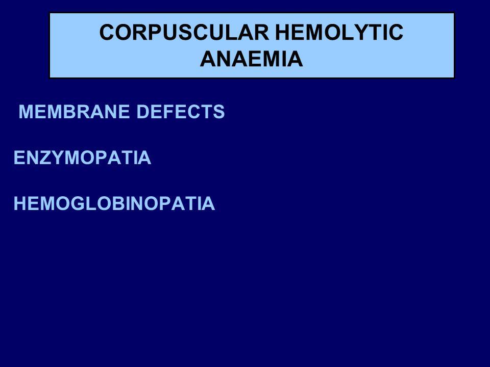 CORPUSCULAR HEMOLYTIC ANAEMIA MEMBRANE DEFECTS ENZYMOPATIA HEMOGLOBINOPATIA
