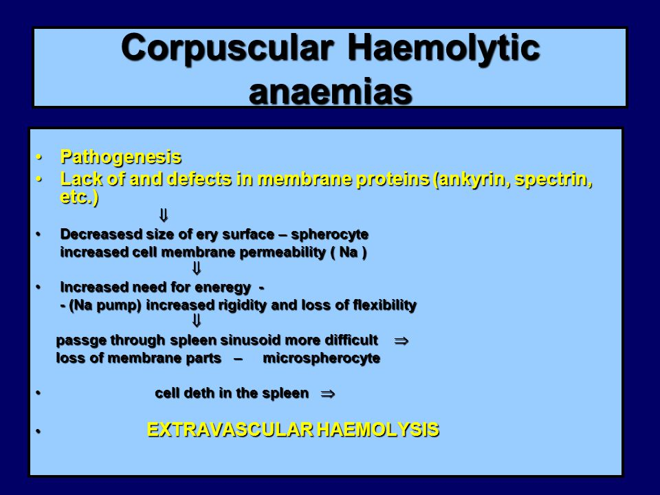 Corpuscular Haemolytic anaemias PathogenesisPathogenesis Lack of and defects in membrane proteins (ankyrin, spectrin, etc.)Lack of and defects in membrane proteins (ankyrin, spectrin, etc.)  Decreasesd size of ery surface – spherocyteDecreasesd size of ery surface – spherocyte increased cell membrane permeability ( Na ) increased cell membrane permeability ( Na )  Increased need for eneregy -Increased need for eneregy - - (Na pump) increased rigidity and loss of flexibility - (Na pump) increased rigidity and loss of flexibility  passge through spleen sinusoid more difficult  passge through spleen sinusoid more difficult  loss of membrane parts – microspherocyte loss of membrane parts – microspherocyte cell deth in the spleen  cell deth in the spleen  EXTRAVASCULAR HAEMOLYSIS EXTRAVASCULAR HAEMOLYSIS