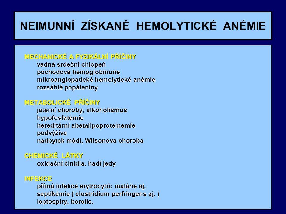 NEIMUNNÍ ZÍSKANÉ HEMOLYTICKÉ ANÉMIE MECHANICKÉ A FYZIKÁLNÍ PŘÍČINY MECHANICKÉ A FYZIKÁLNÍ PŘÍČINY vadná srdeční chlopeň vadná srdeční chlopeň pochodov