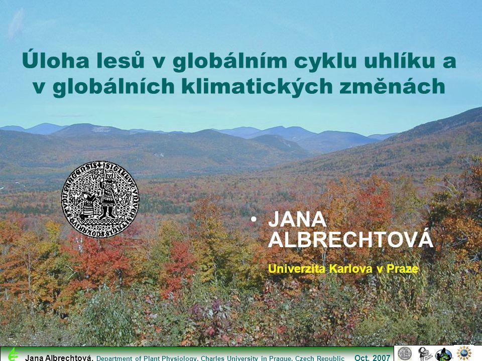 Atmosférický uhlík a teplota na Zemi Jana Albrechtová, Department of Plant Physiology, Charles University in Prague, Czech Republic Oct.