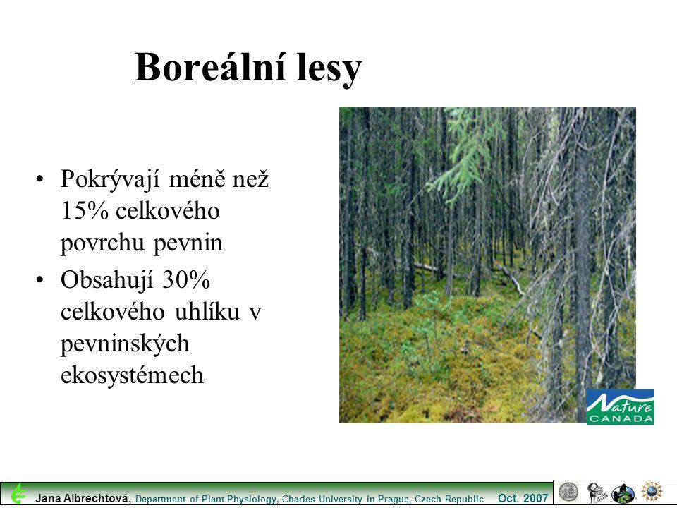 Boreální lesy Pokrývají méně než 15% celkového povrchu pevnin Obsahují 30% celkového uhlíku v pevninských ekosystémech Jana Albrechtová, Department of