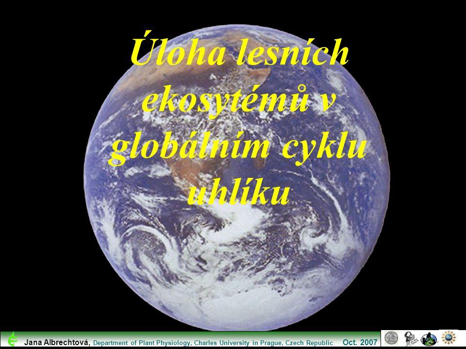 Úloha lesních ekosytémů v globálním cyklu uhlíku Jana Albrechtová, Department of Plant Physiology, Charles University in Prague, Czech Republic Oct. 2