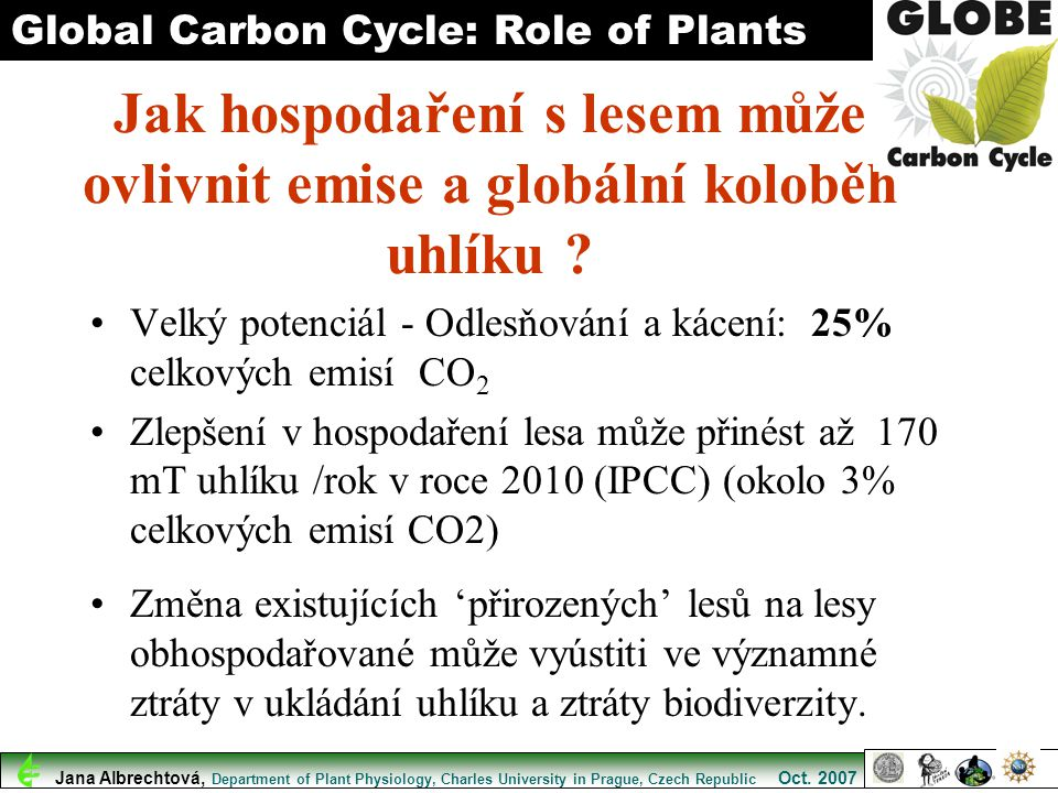 Jak hospodaření s lesem může ovlivnit emise a globální koloběh uhlíku ? Velký potenciál - Odlesňování a kácení: 25% celkových emisí CO 2 Zlepšení v ho