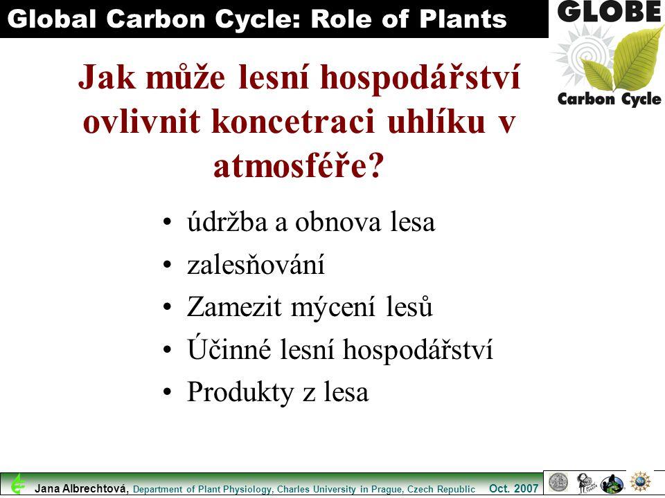 Jak může lesní hospodářství ovlivnit koncetraci uhlíku v atmosféře? údržba a obnova lesa zalesňování Zamezit mýcení lesů Účinné lesní hospodářství Pro