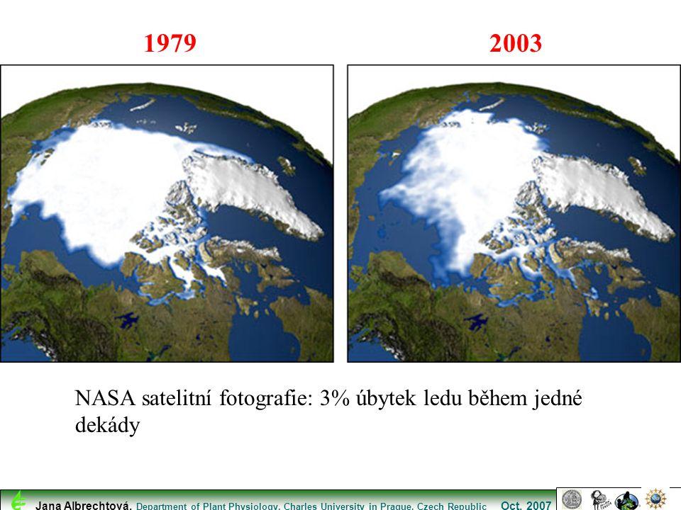 NASA satelitní fotografie: 3% úbytek ledu během jedné dekády 19792003 Jana Albrechtová, Department of Plant Physiology, Charles University in Prague,