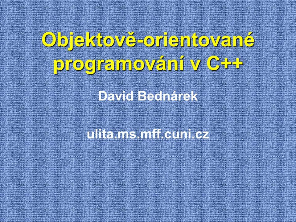 Základní knihovny C a C++ - ladicí funkce (makro assert) - klasifikace znaků (isalpha, isspace,...) - chybové kódy (ENOMEM,...), proměnná errno - vlastnosti a limity reálných typů (DBL_MAX,...) - limity celočíselných typů (INT_MAX,...) - přizpůsobení národnímu prostředí - matematické funkce (sin,...) - meziprocedurální skoky (setjmp, longjmp) - signály operačního systému - makra pro funkce s proměnným počtem argumentů - užitečné typy a konstanty (NULL) - standardní a souborový vstup a výstup - užitečné funkce (malloc,...) - manipulace s řetězci (strcpy,...) - konverze data a času - 16-bitové řetězce (wchar_t) - klasifikace 16-bitových znaků