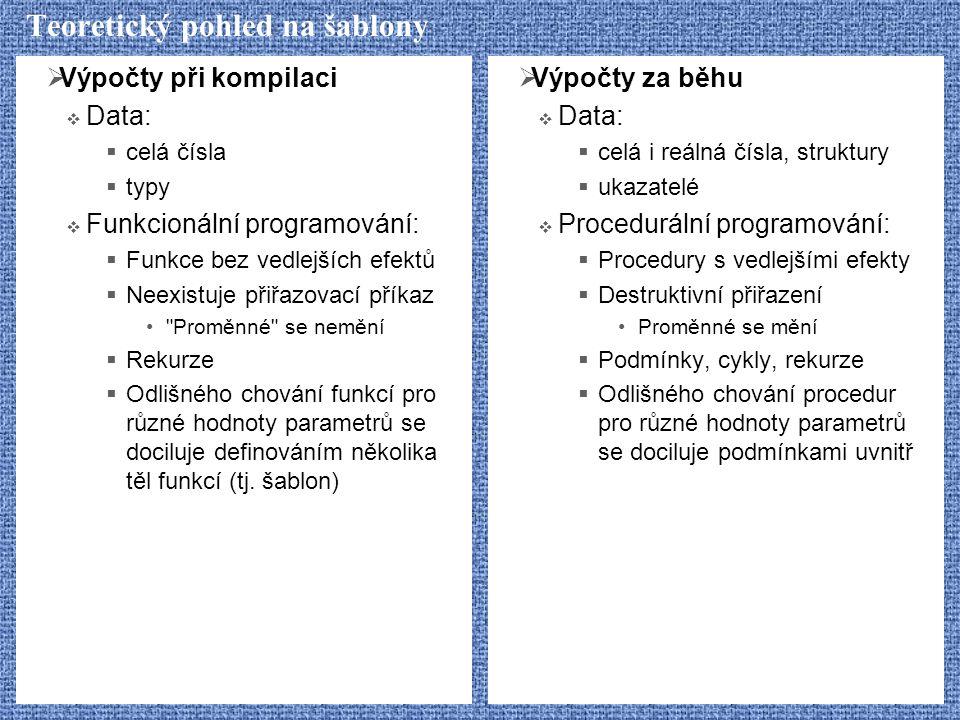 Teoretický pohled na šablony  Výpočty při kompilaci  Data:  celá čísla  typy  Funkcionální programování:  Funkce bez vedlejších efektů  Neexist