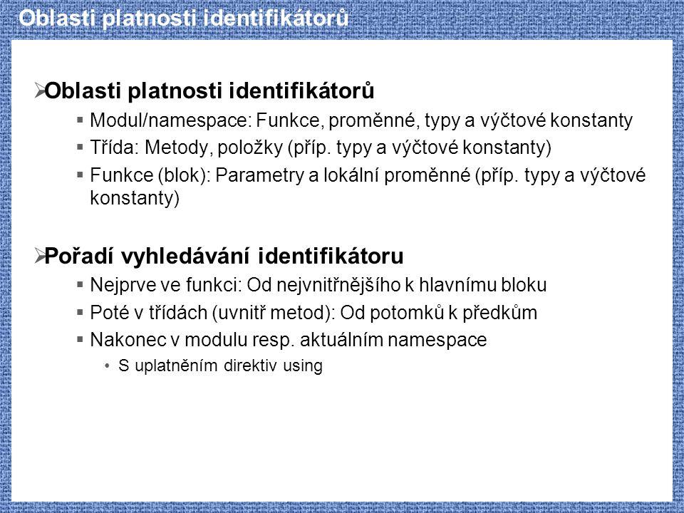 Oblasti platnosti identifikátorů  Oblasti platnosti identifikátorů  Modul/namespace: Funkce, proměnné, typy a výčtové konstanty  Třída: Metody, pol