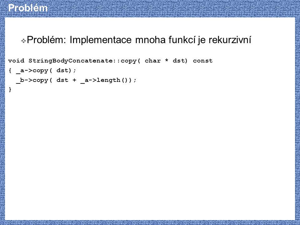 Problém  Problém: Implementace mnoha funkcí je rekurzivní void StringBodyConcatenate::copy( char * dst) const { _a->copy( dst); _b->copy( dst + _a->l