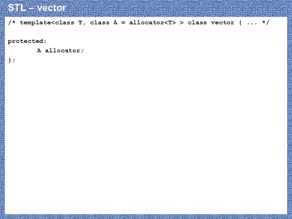 STL – vector /* template > class vector {... */ protected: A allocator; };