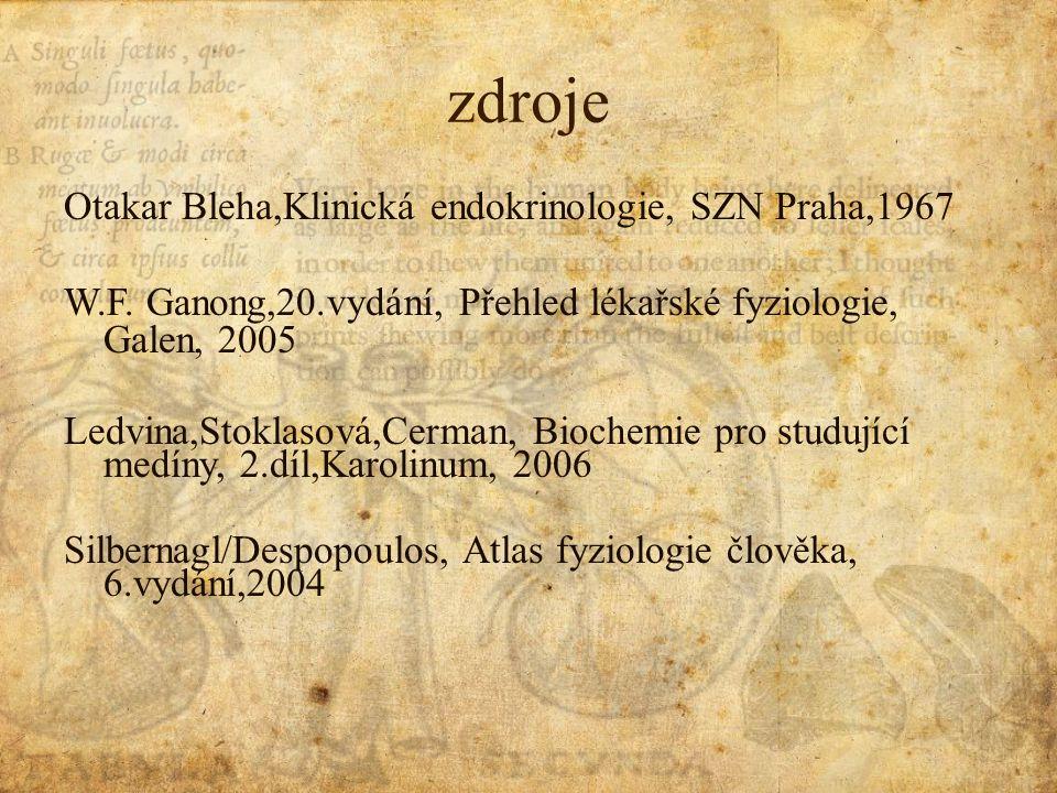zdroje Otakar Bleha,Klinická endokrinologie, SZN Praha,1967 W.F.