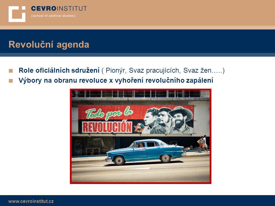 www.cevroinstitut.cz Revoluční agenda ■ Role oficiálních sdružení ( Pionýr, Svaz pracujících, Svaz žen…..) ■ Výbory na obranu revoluce x vyhoření revo