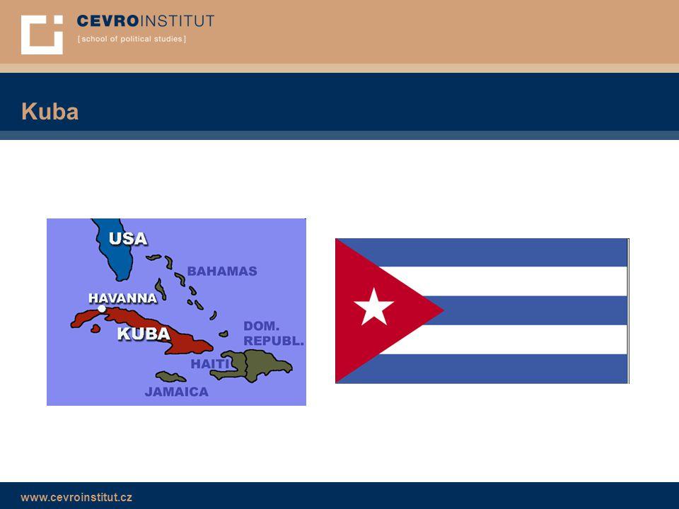 www.cevroinstitut.cz Kuba dnes ■ 2008 – Raúl Castro → reformy ■ Kongres Komunistické strany Kuby 2011 → reforma přídělového systému → reforma vlastnictví bytů  x nezávislá média → blogy, samizdat → monitoring a cenzura internetu