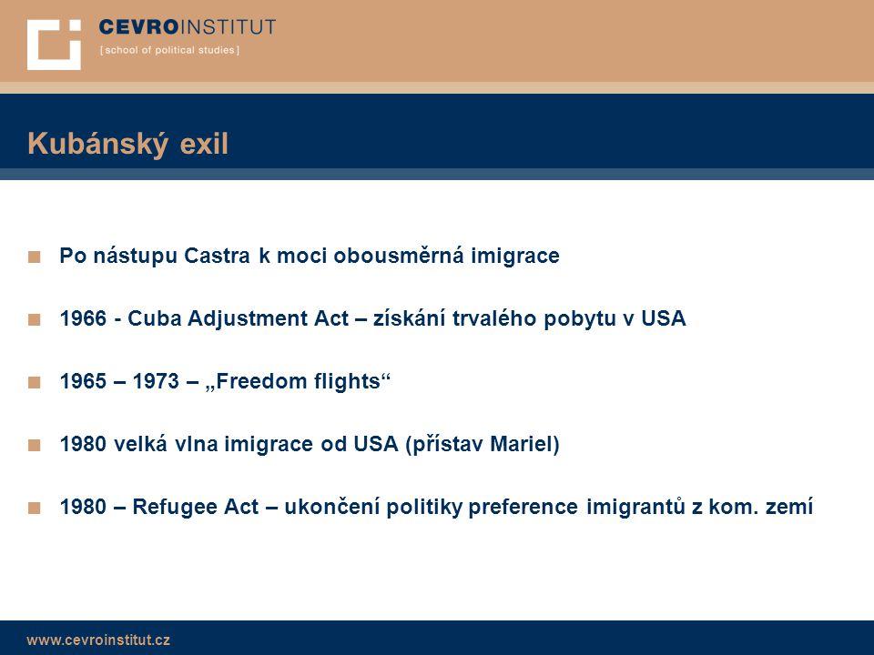 www.cevroinstitut.cz Kubánský exil ■ Po nástupu Castra k moci obousměrná imigrace ■ 1966 - Cuba Adjustment Act – získání trvalého pobytu v USA ■ 1965