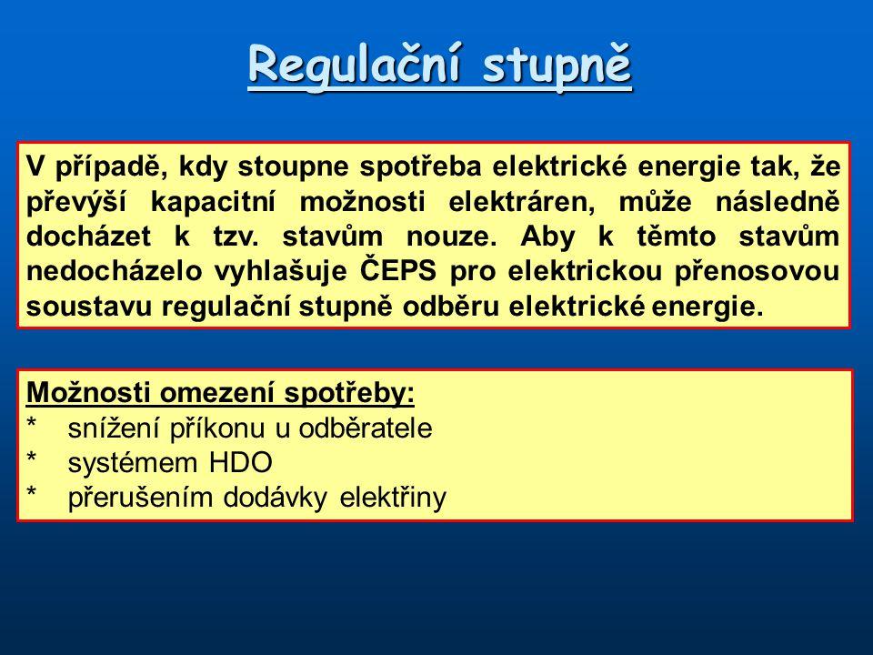 Regulační stupně V případě, kdy stoupne spotřeba elektrické energie tak, že převýší kapacitní možnosti elektráren, může následně docházet k tzv. stavů