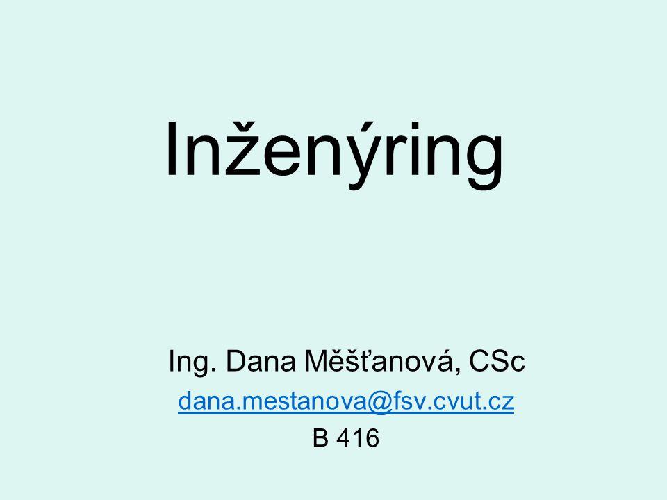 Inženýring Ing. Dana Měšťanová, CSc dana.mestanova@fsv.cvut.cz B 416