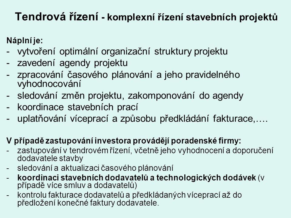 Tendrová řízení - komplexní řízení stavebních projektů Náplní je: -vytvoření optimální organizační struktury projektu -zavedení agendy projektu -zprac