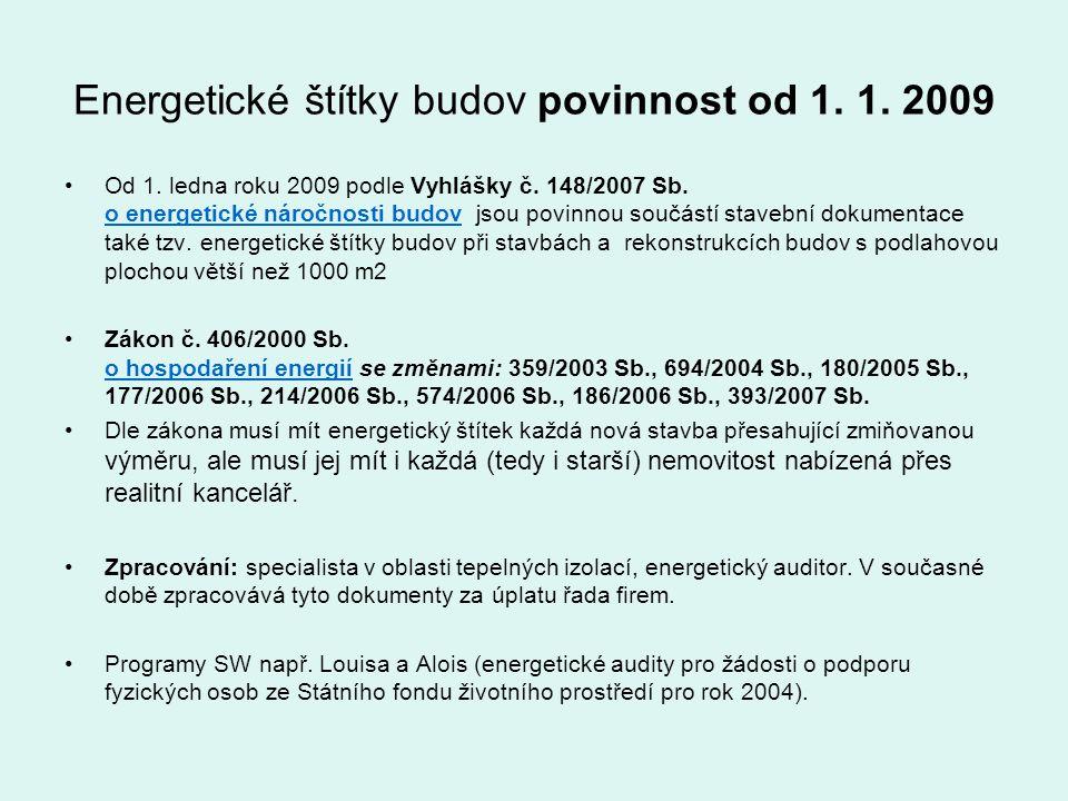 Energetické štítky budov povinnost od 1. 1. 2009 Od 1. ledna roku 2009 podle Vyhlášky č. 148/2007 Sb. o energetické náročnosti budov jsou povinnou sou