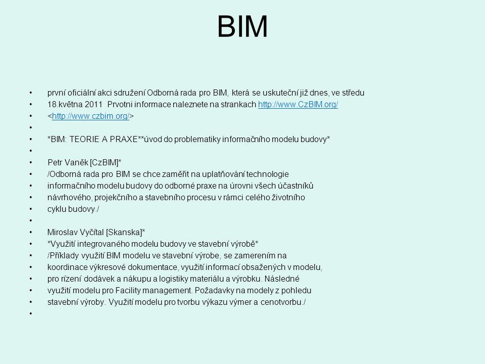 BIM první oficiální akci sdružení Odborná rada pro BIM, která se uskuteční již dnes, ve středu 18.května 2011 Prvotni informace naleznete na strankach