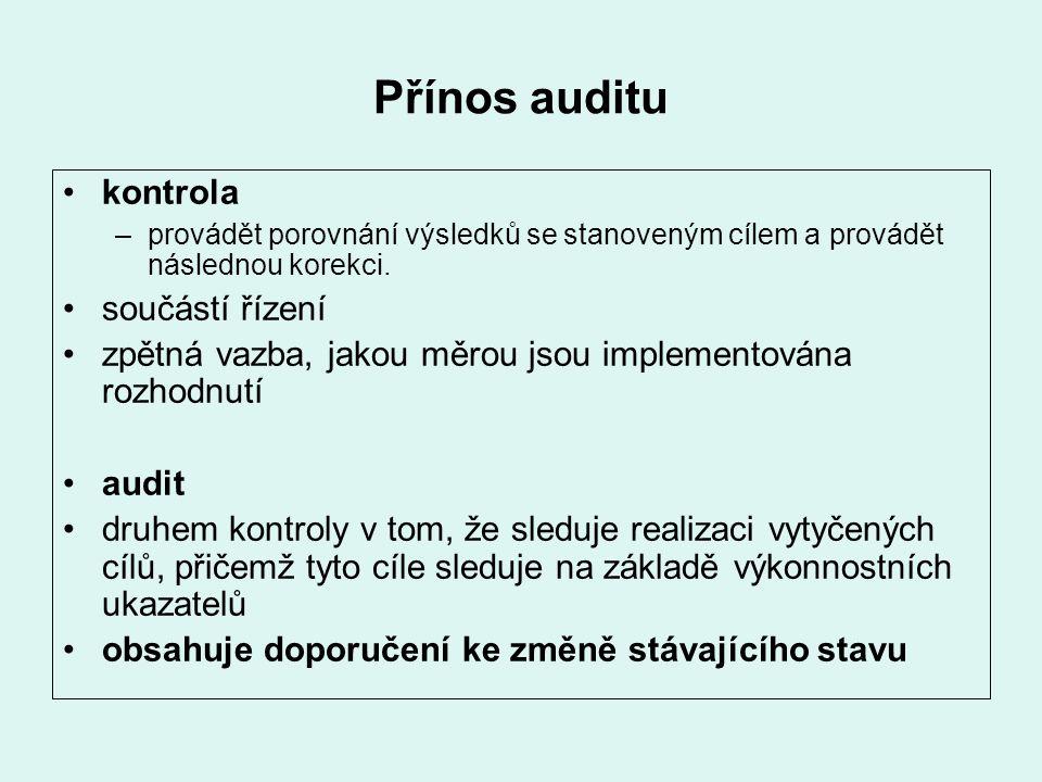 Přínos auditu kontrola –provádět porovnání výsledků se stanoveným cílem a provádět následnou korekci. součástí řízení zpětná vazba, jakou měrou jsou i