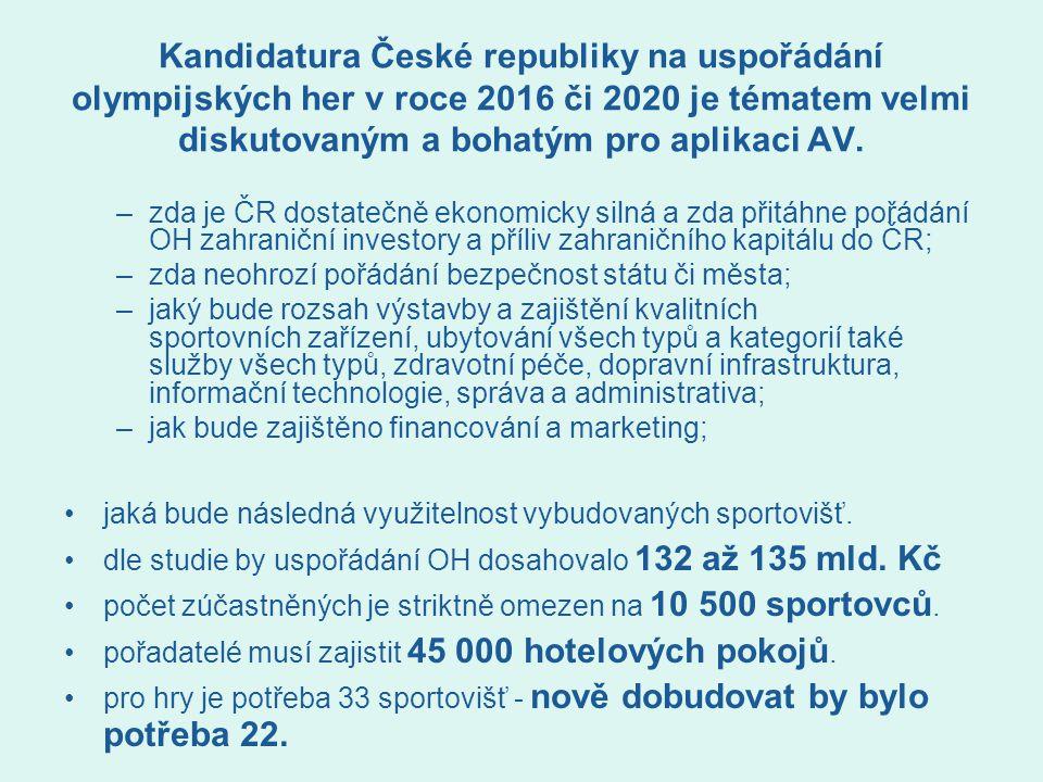 Kandidatura České republiky na uspořádání olympijských her v roce 2016 či 2020 je tématem velmi diskutovaným a bohatým pro aplikaci AV. –zda je ČR dos