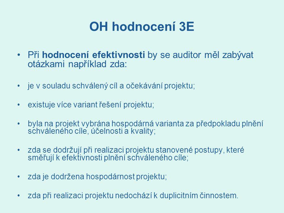 OH hodnocení 3E Při hodnocení efektivnosti by se auditor měl zabývat otázkami například zda: je v souladu schválený cíl a očekávání projektu; existuje