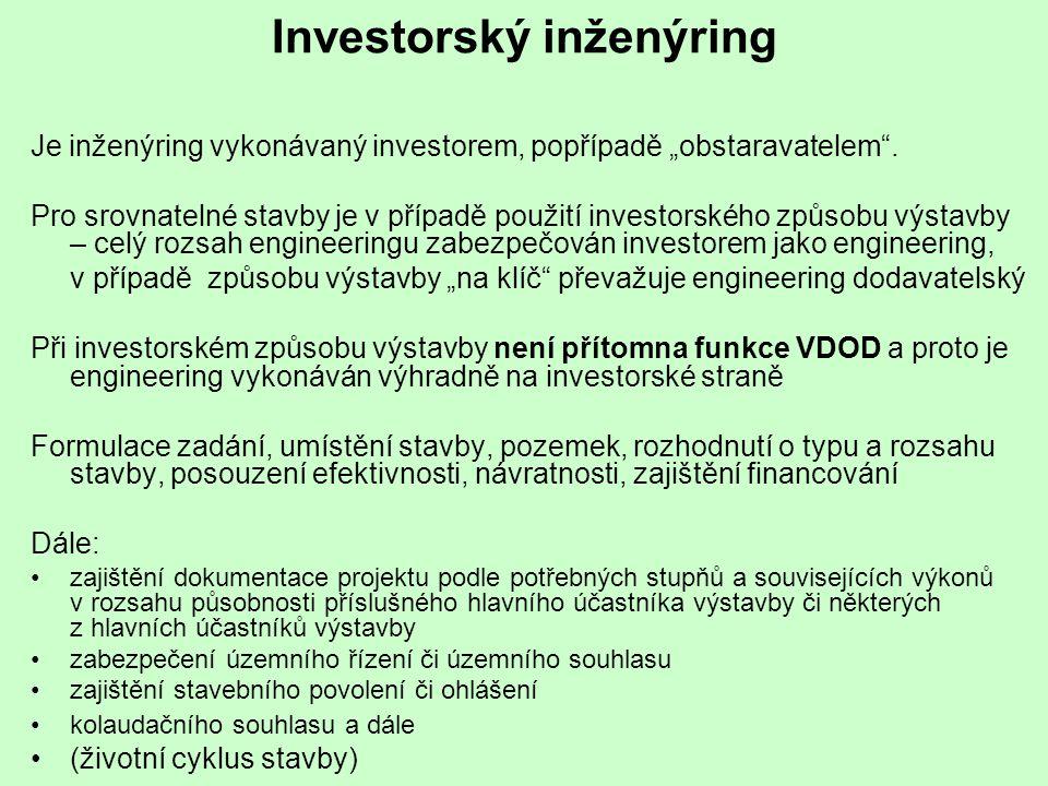 """Investorský inženýring Je inženýring vykonávaný investorem, popřípadě """"obstaravatelem"""". Pro srovnatelné stavby je v případě použití investorského způs"""