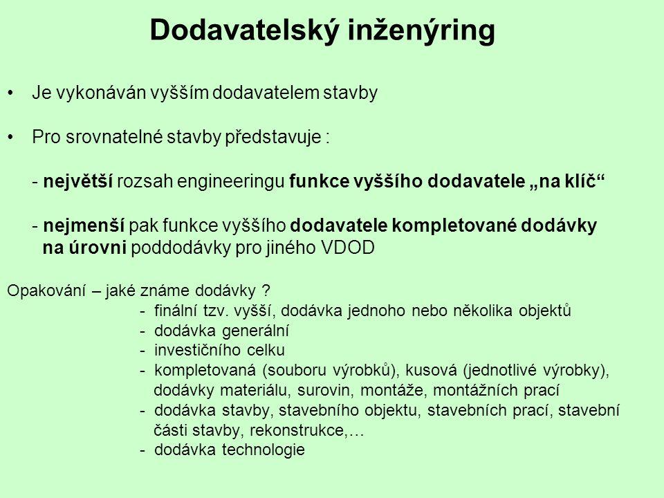 Dodavatelský inženýring Je vykonáván vyšším dodavatelem stavby Pro srovnatelné stavby představuje : - největší rozsah engineeringu funkce vyššího doda