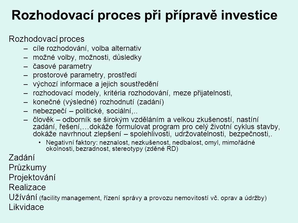 Rozhodovací proces při přípravě investice Rozhodovací proces –cíle rozhodování, volba alternativ –možné volby, možnosti, důsledky –časové parametry –p