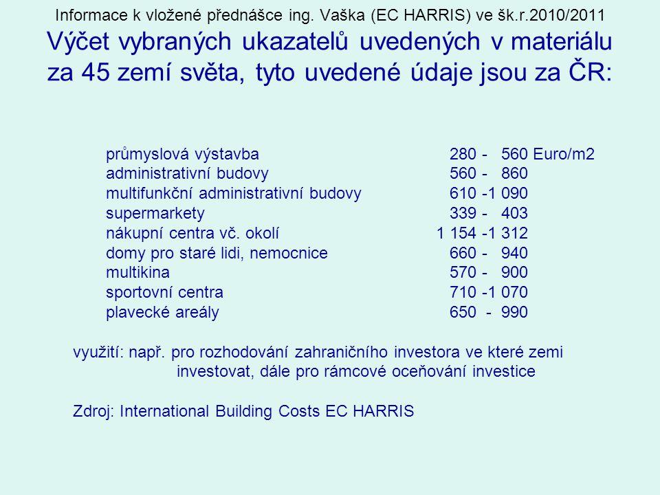 Informace k vložené přednášce ing. Vaška (EC HARRIS) ve šk.r.2010/2011 Výčet vybraných ukazatelů uvedených v materiálu za 45 zemí světa, tyto uvedené