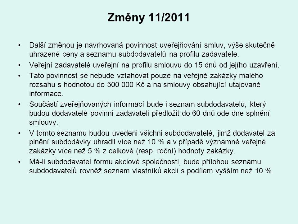 Změny 11/2011 Další změnou je navrhovaná povinnost uveřejňování smluv, výše skutečně uhrazené ceny a seznamu subdodavatelů na profilu zadavatele. Veře