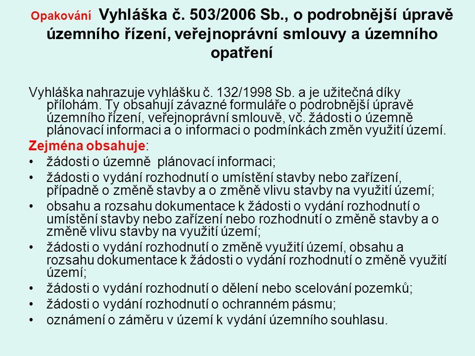 Opakování Vyhláška č. 503/2006 Sb., o podrobnější úpravě územního řízení, veřejnoprávní smlouvy a územního opatření Vyhláška nahrazuje vyhlášku č. 132